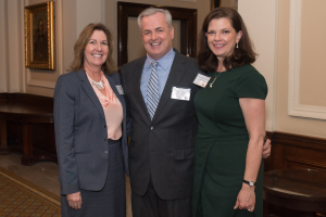 Judge of the Year, 2015, Clare E. McWilliams, Chapter President Bob Napleton and Justice Eileen O'Neill Burke.