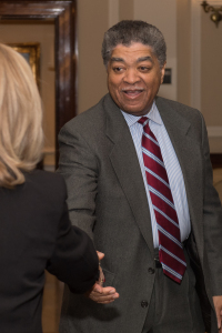 Chief Judge of the Circuit Court of Cook County Timothy Evans greeting Judge Mary Margaret Brosnahan.